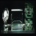 CRYSTAL DESKSET GREEN GLASS WITH CLOCK, PEN HOLDER & CARD HOLDER ON GREEN TRANSPARENT BASE AFT910