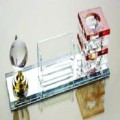 CRYSTAL DESKSET BLACK GLASS WITH GLOBE, CARD HOLDER & PEN HOLDER ON BLACK TRANSPARENT BASE AFT911