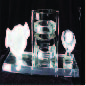 CRYSTAL DESKSET WITH HAND SHAKE, BLACK/TRANSPARENT PEN HOLDER & CLOCK ON GLASS BASE  AFT905
